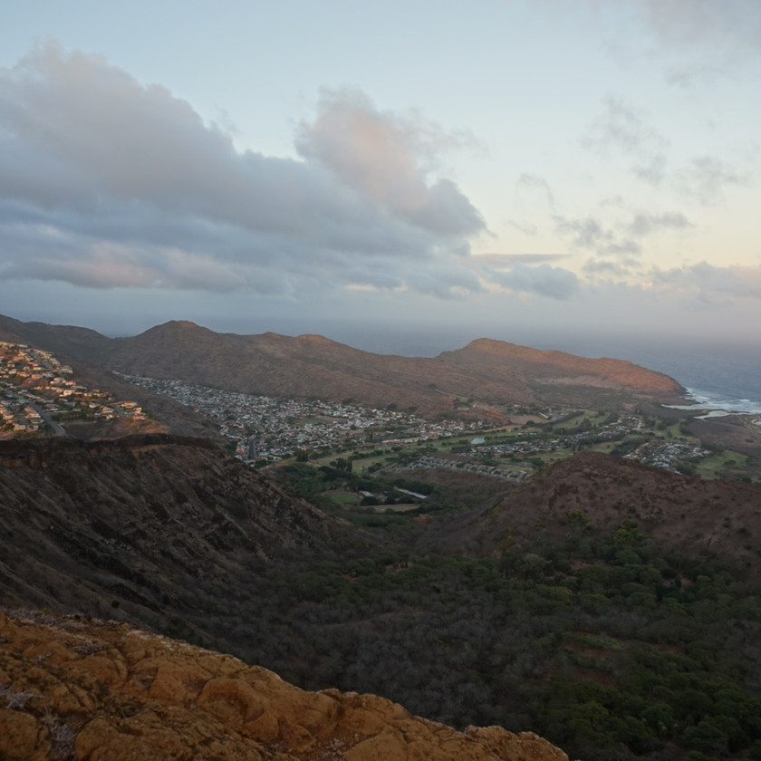 Ocean and valley view from the top of Koko Head Crater