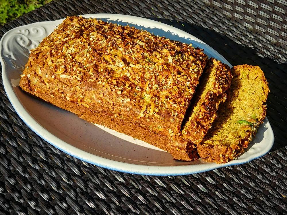 Fresh vegan zucchini bread loaf