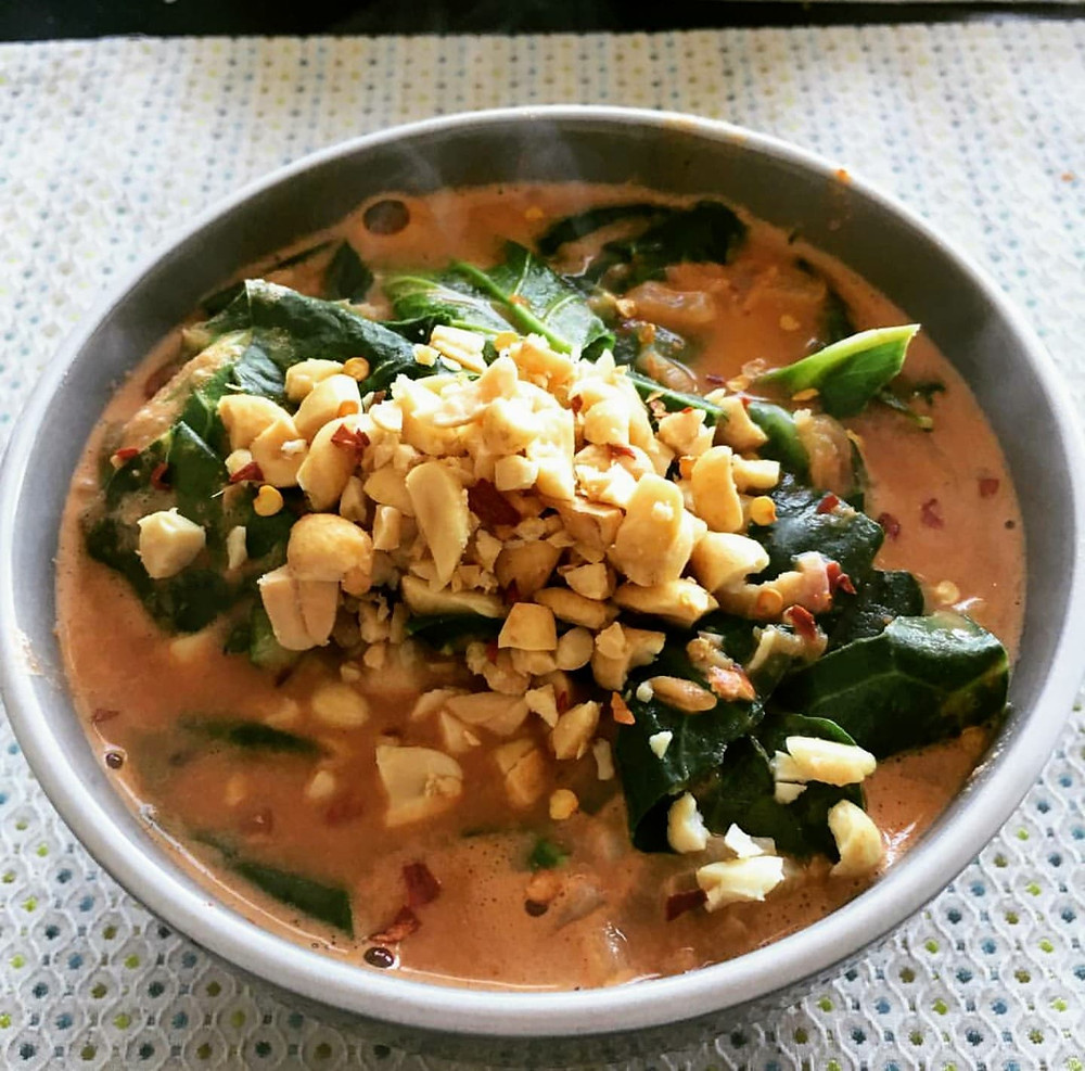 Steaming African peanut soup for dinner