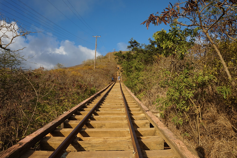 Koko Head Crater stairs in Oahu, Hawaii going to the top
