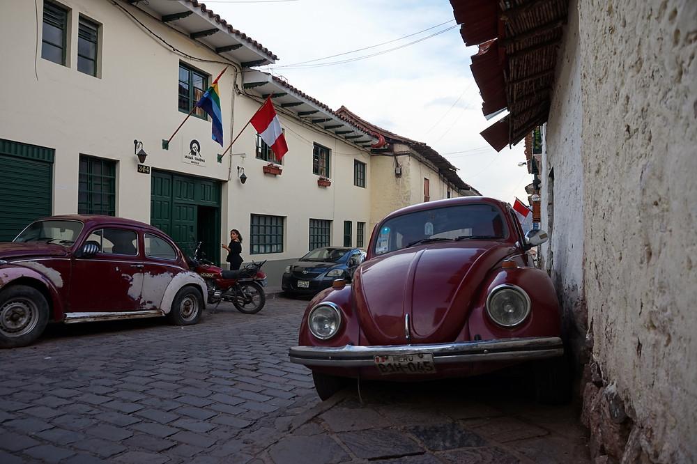 Old Volkswagen in Cusco's historical district.