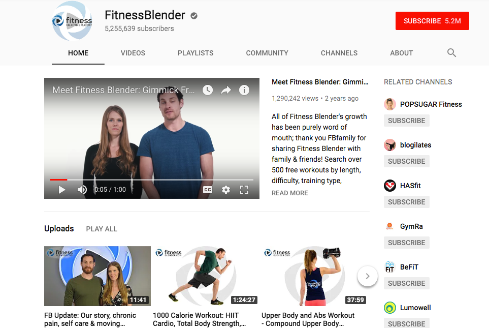 Fitness Blender YouTube workout videos