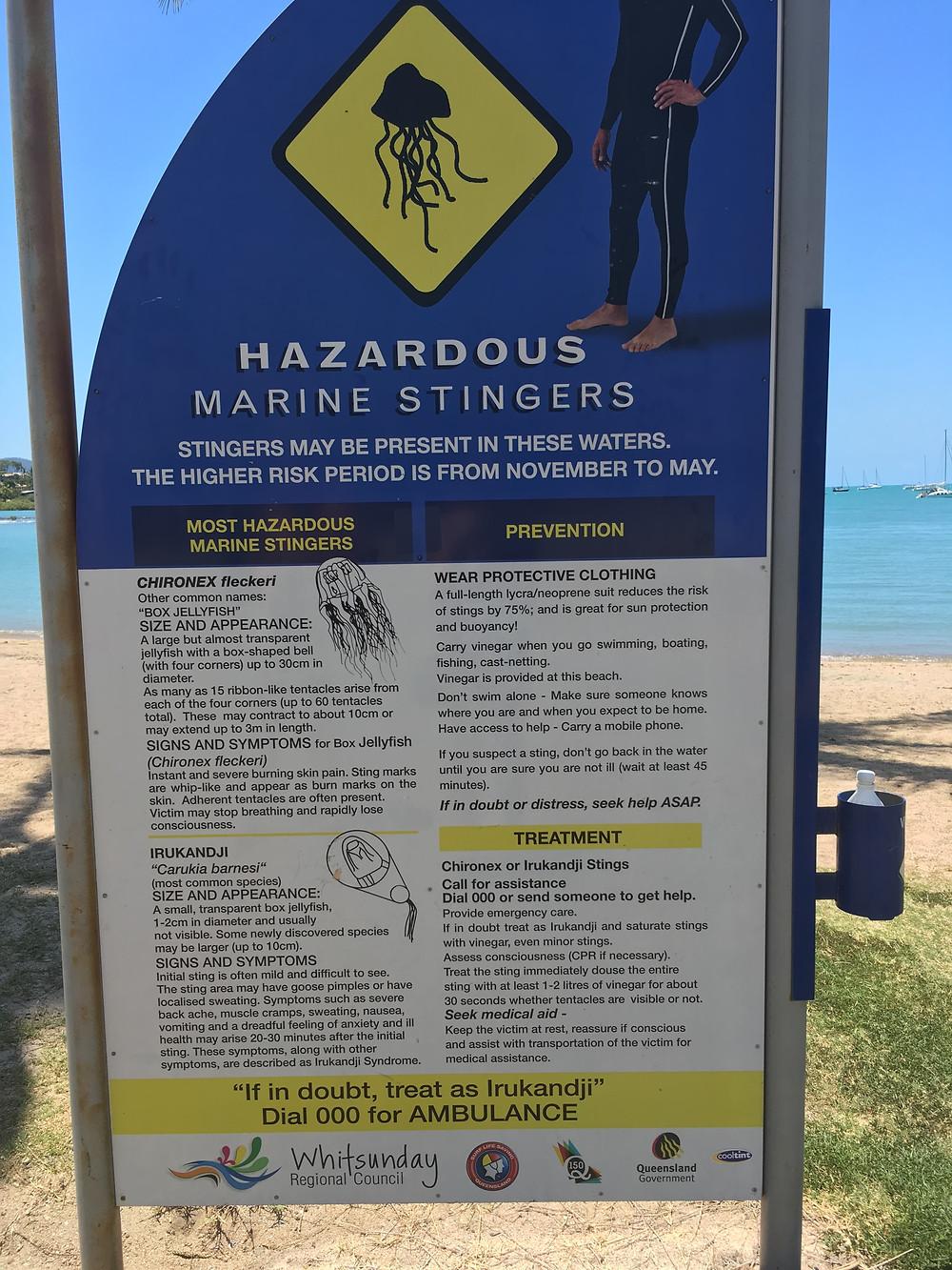 Jellyfish warning sign at a beach in Australia Whitsundays