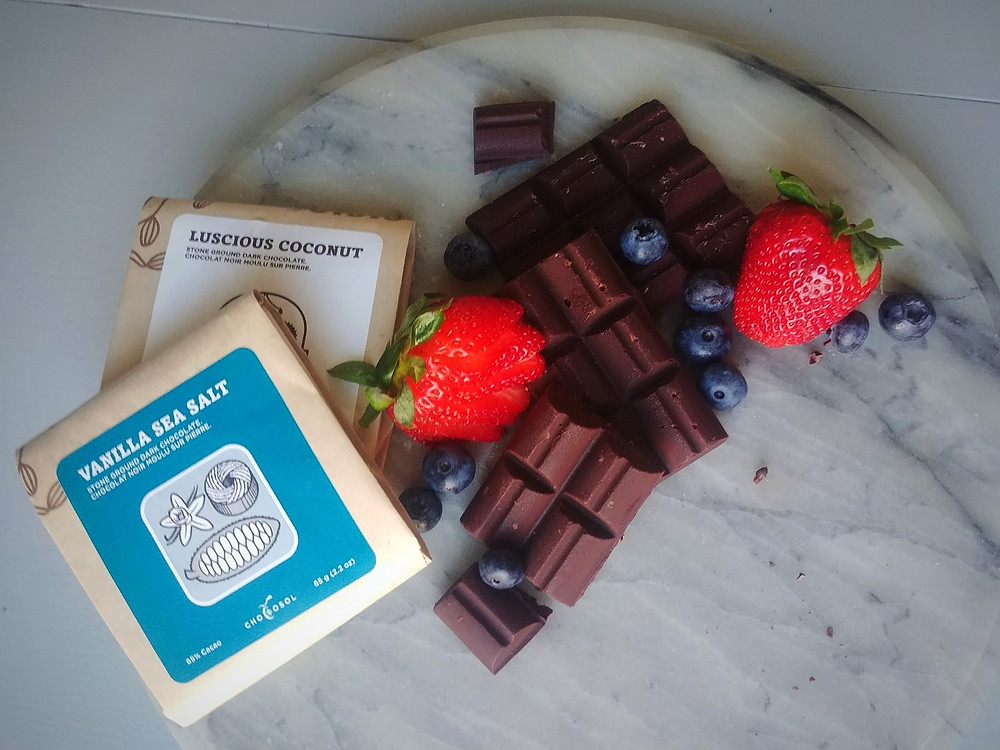 Chocosol Vanilla Sea Salt and Luscious Coconut chocolate with fruit