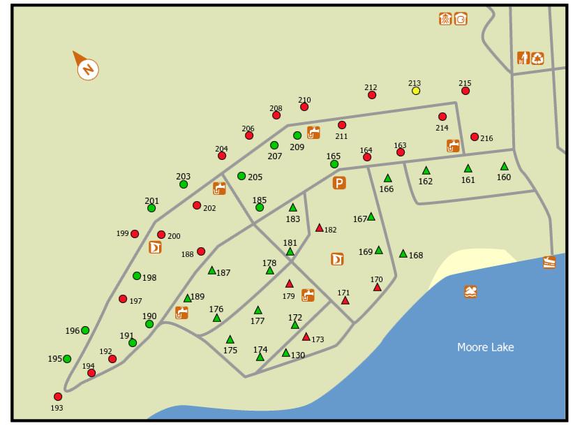 Jingwakoki West Campground map at Samuel de Champlain Provincial Park