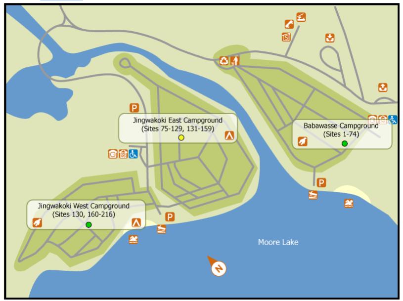 Samuel de Champlain Provincial Park campsite map