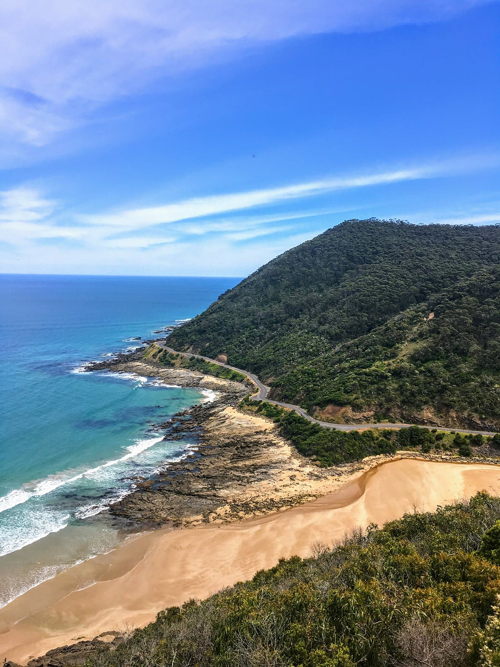 Great Ocean Road on Australian East Coast with ocean view