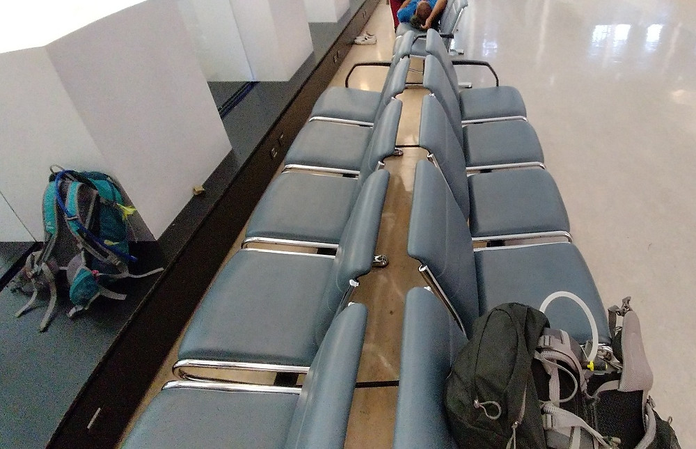 Finding benches to sleep on at Toronto Pearson International Airport