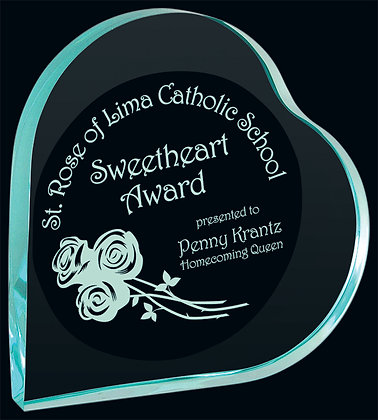 Jade Heart Acrylic Award