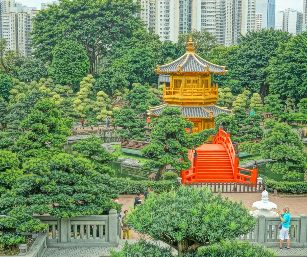 Beautiful golden temple at Nan Lian Garden in Hong Kong