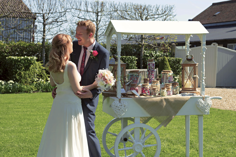 Surrey Wedding Sweet Cart and Couple at Gate Street Barn