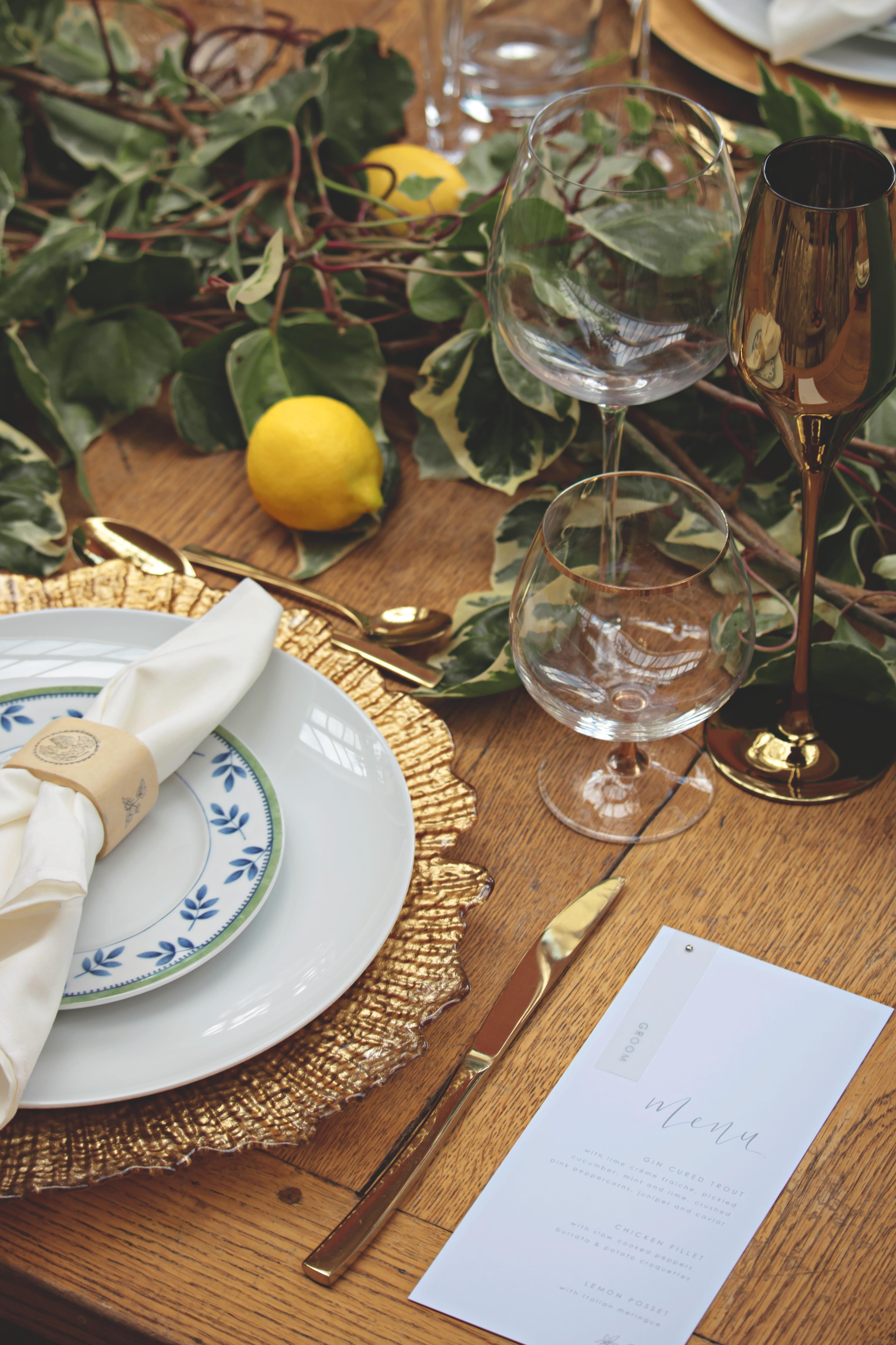 Tuscan Themed Wedding Table Details at Euridge Manor