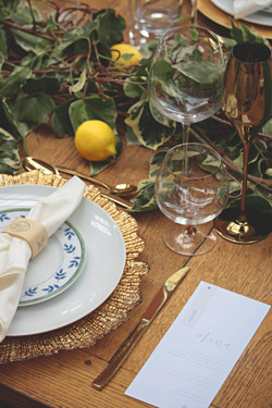 Tuscan Themed Wedding Table Details at Euridge Manor