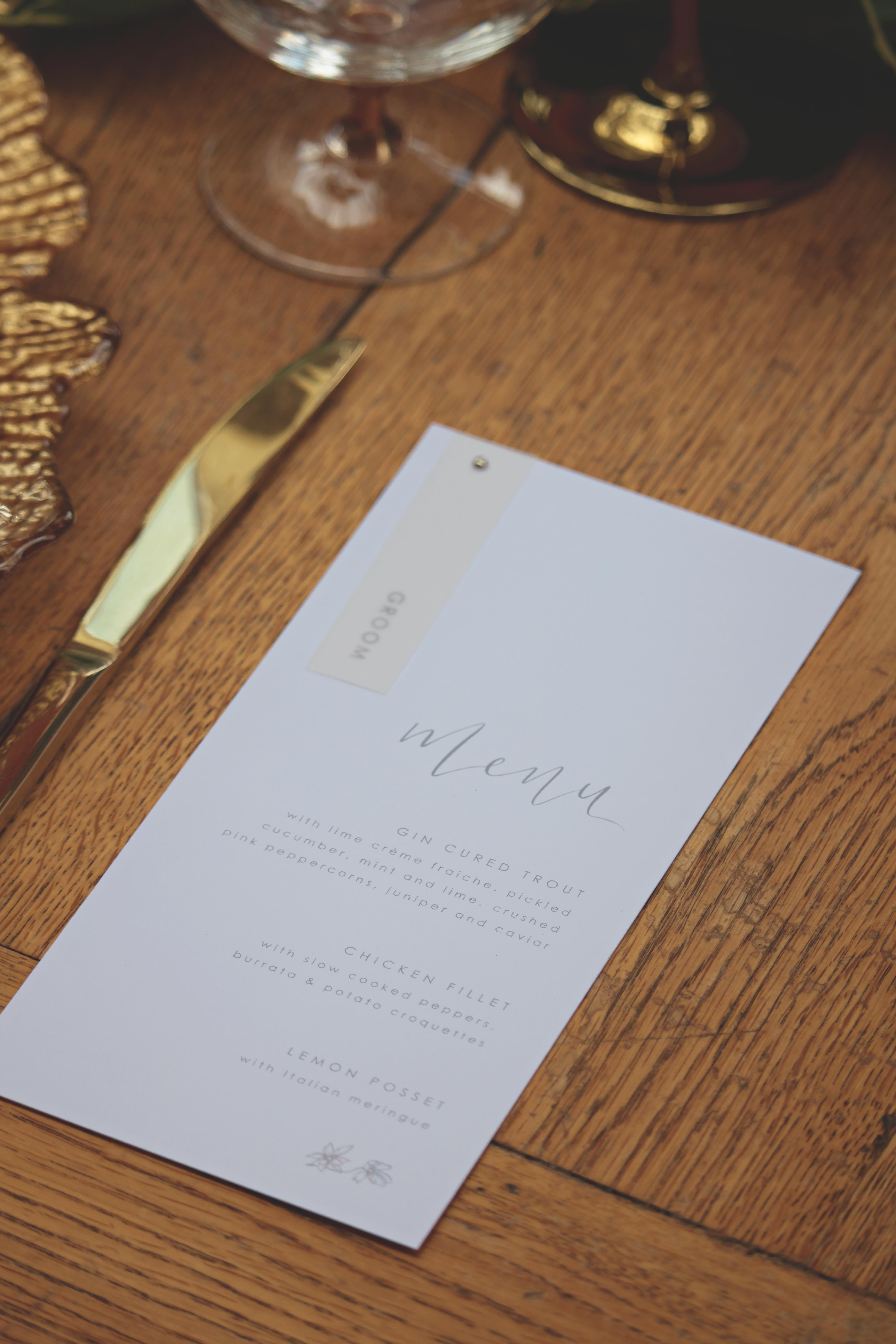 Stunning Tuscan Themed Wedding Menu