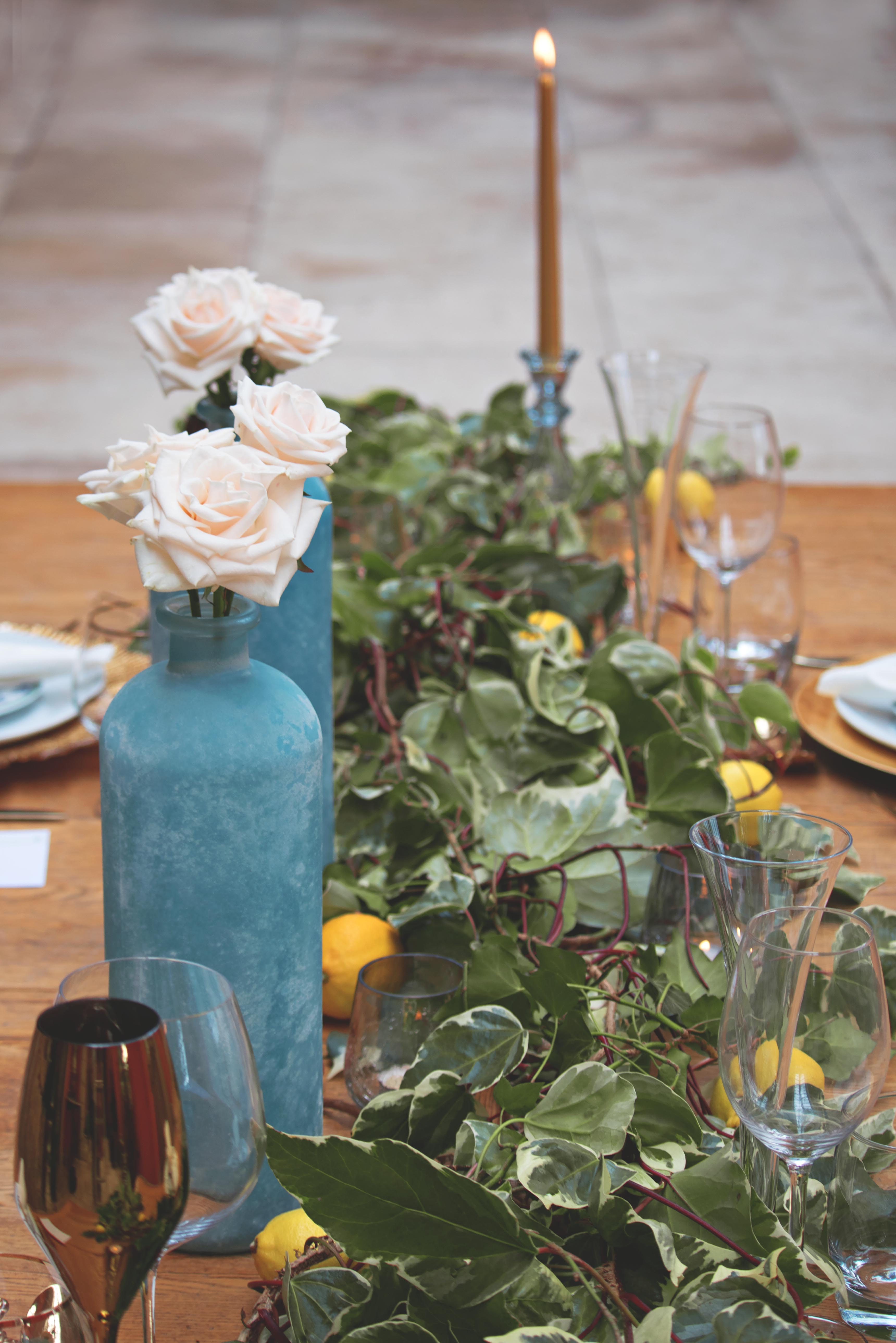 Stunning Tuscan Themed Wedding Table Florals