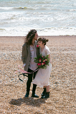 Relaxed Couple Portraits at Brighton Beach