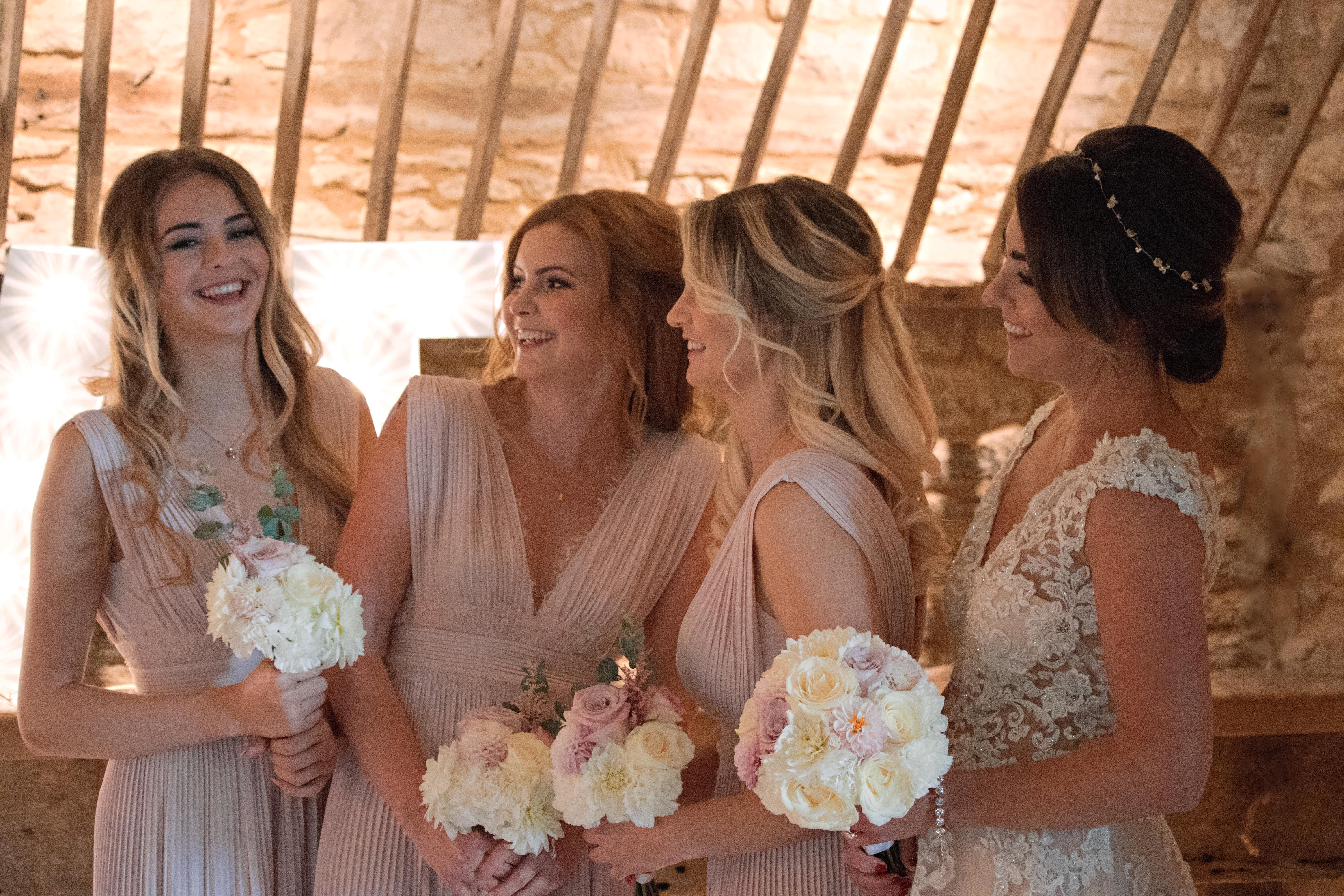Bride & Bridemaids Blush Pink Candid Photography
