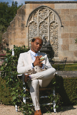 Tuscan Themed Groom Portraits at Euridge Manor Same Sex Wedding