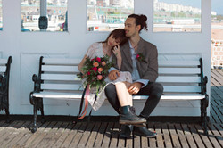 Relaxed Beach Wedding Couple Portraits On The Pier