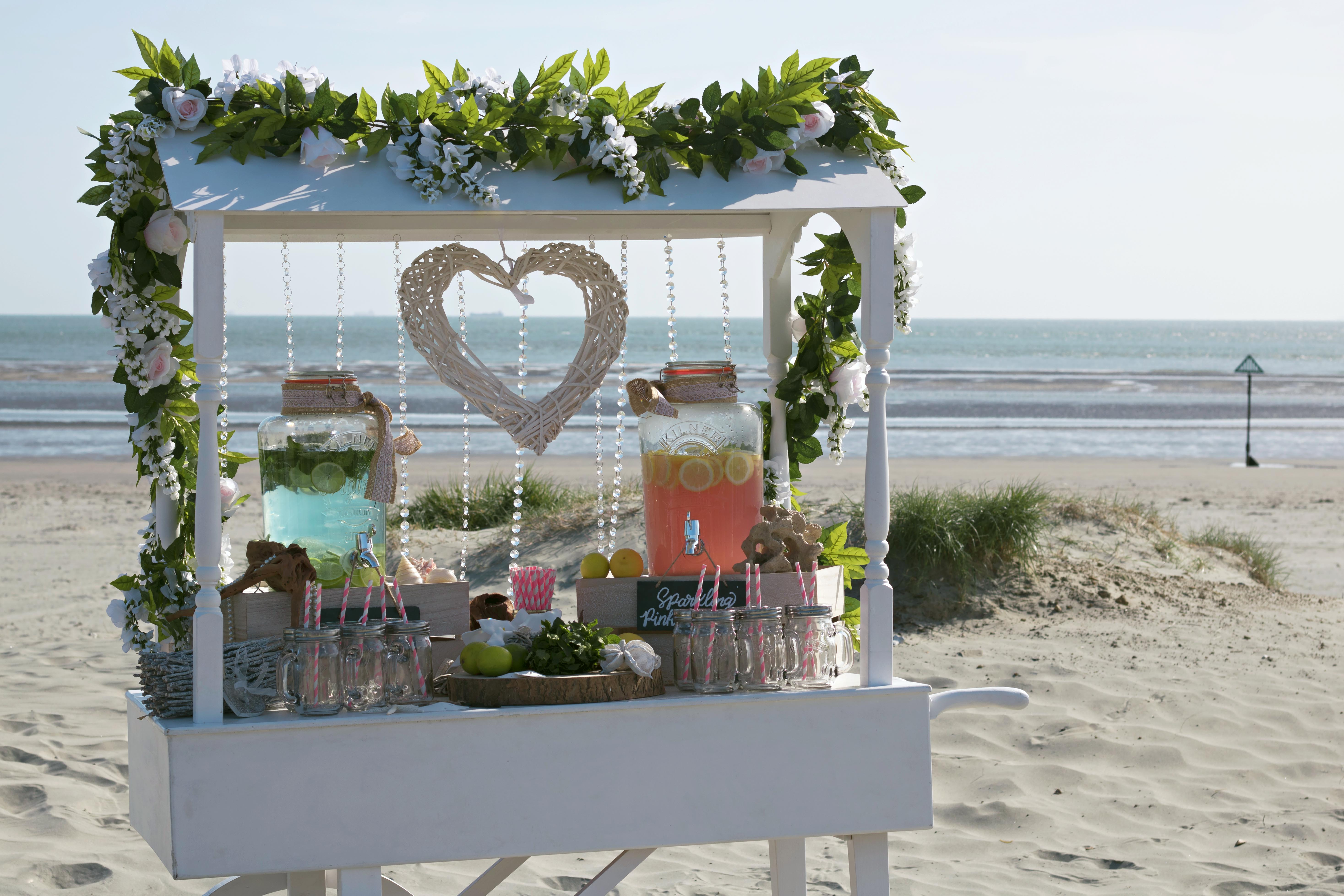 Summer Beach Wedding Drinks Cart
