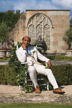 Tuscan Themed Groom Portraits at Euridge Manor Same Sex Wedding in Summer