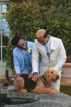Grooms at their Pet at Beautiful Tuscan Themed Wedding