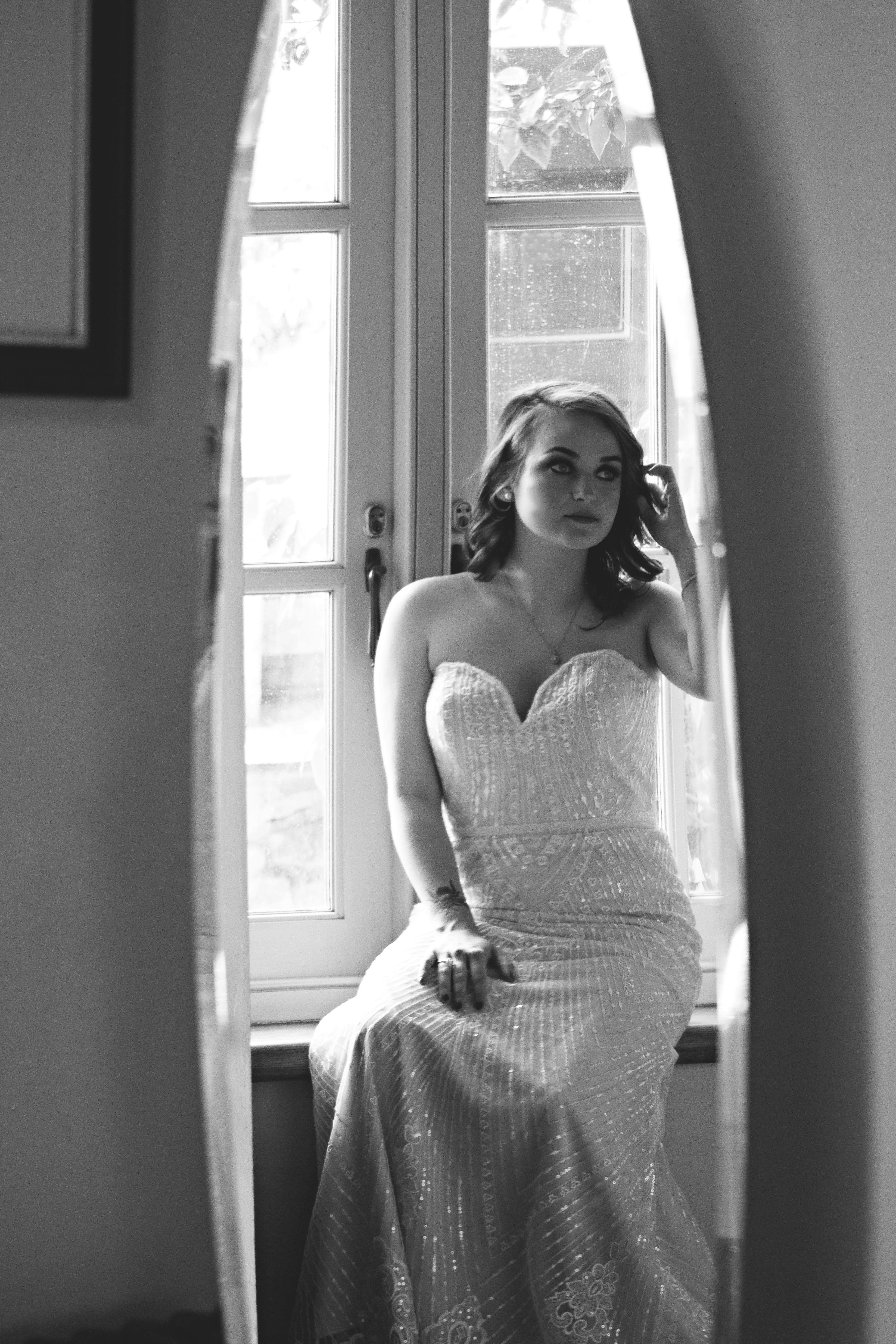 Relaxed Bridal Portrait Black & White