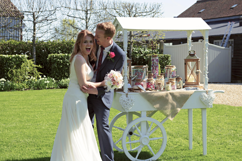 Surrey Wedding Sweet Cart and Couple