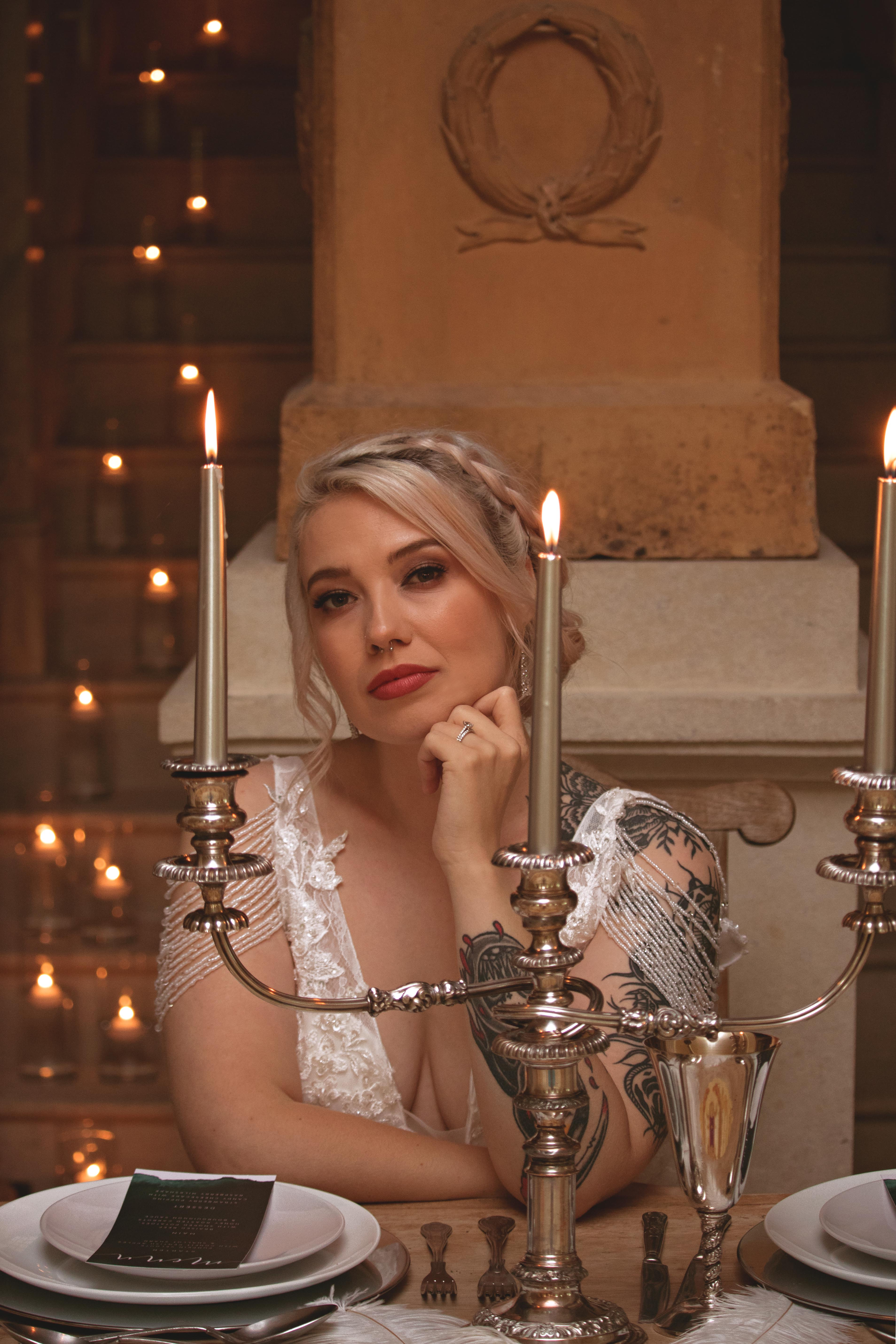 Candle Lit Bridal Portraits at Euridge Manor Same Sex Wedding Reception