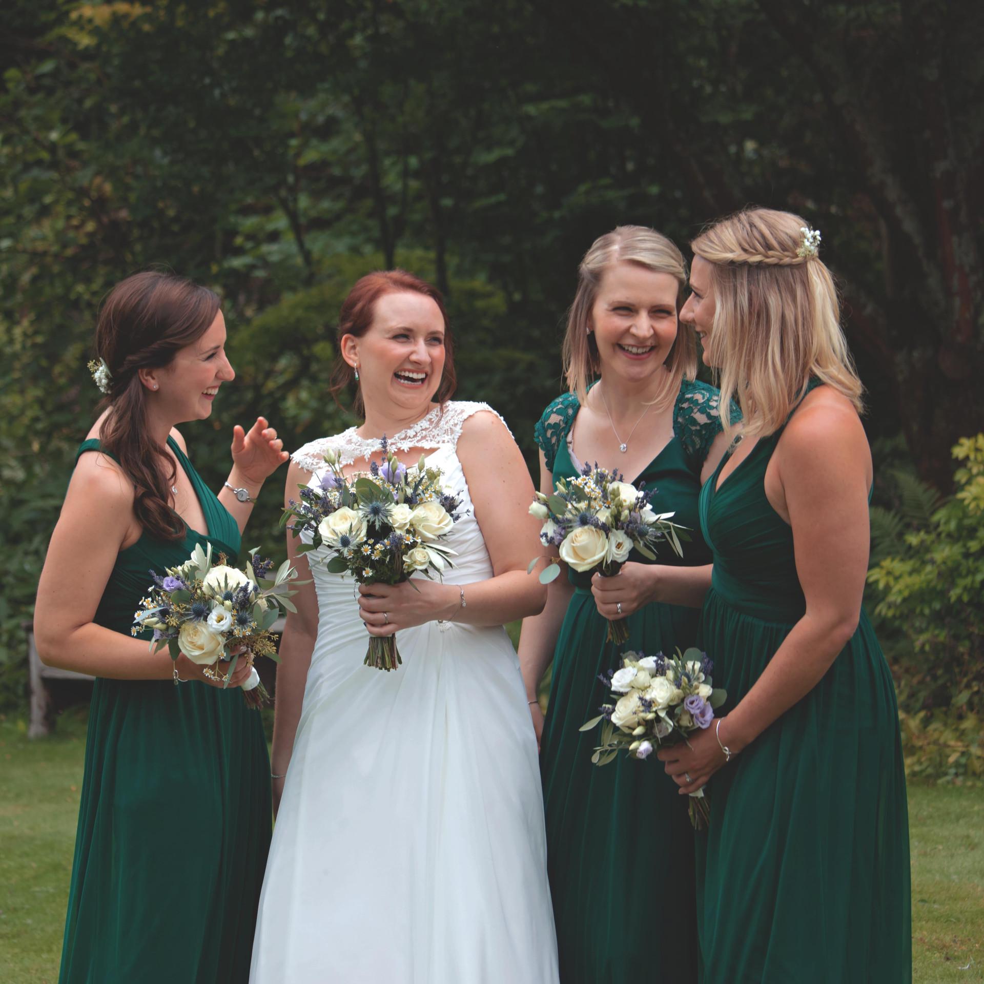 Outdoor Surrey Wedding Bride & Bridesmai