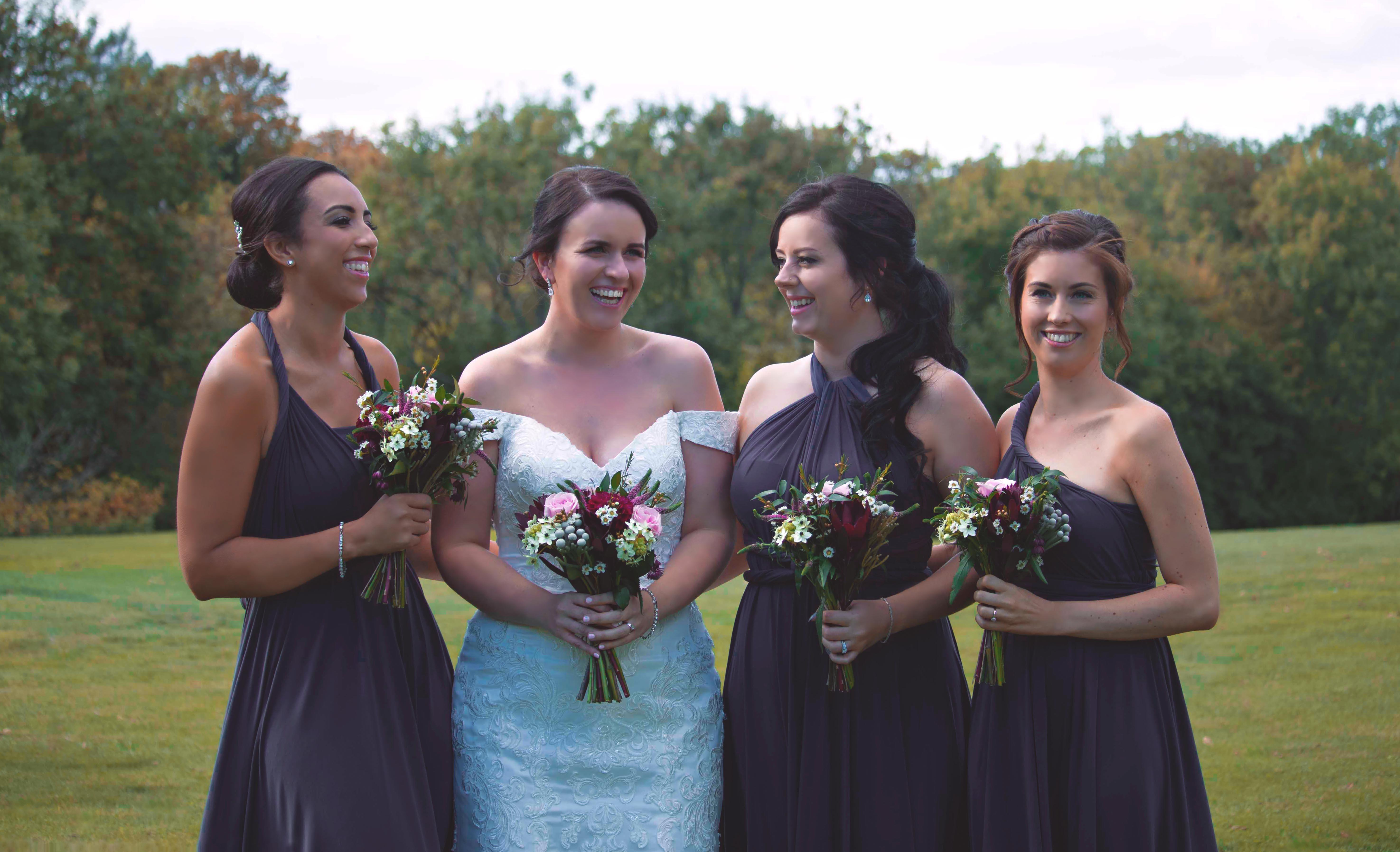 Bride & Bridesmaids Purple Outdoor Golf Club Wedding