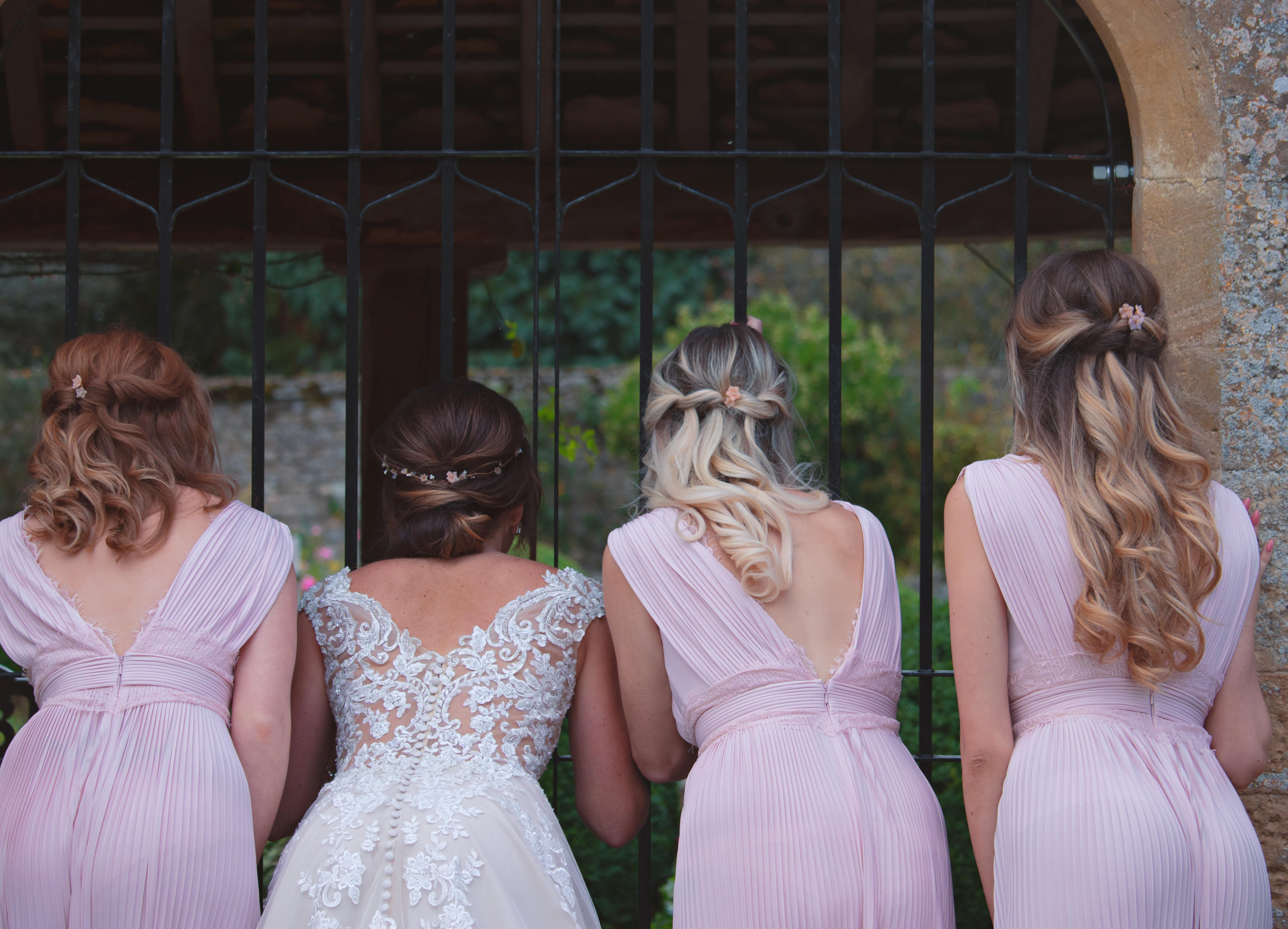 Blush Pink Bride & Bridemaids Relaxed & Fun Wedding Portraits