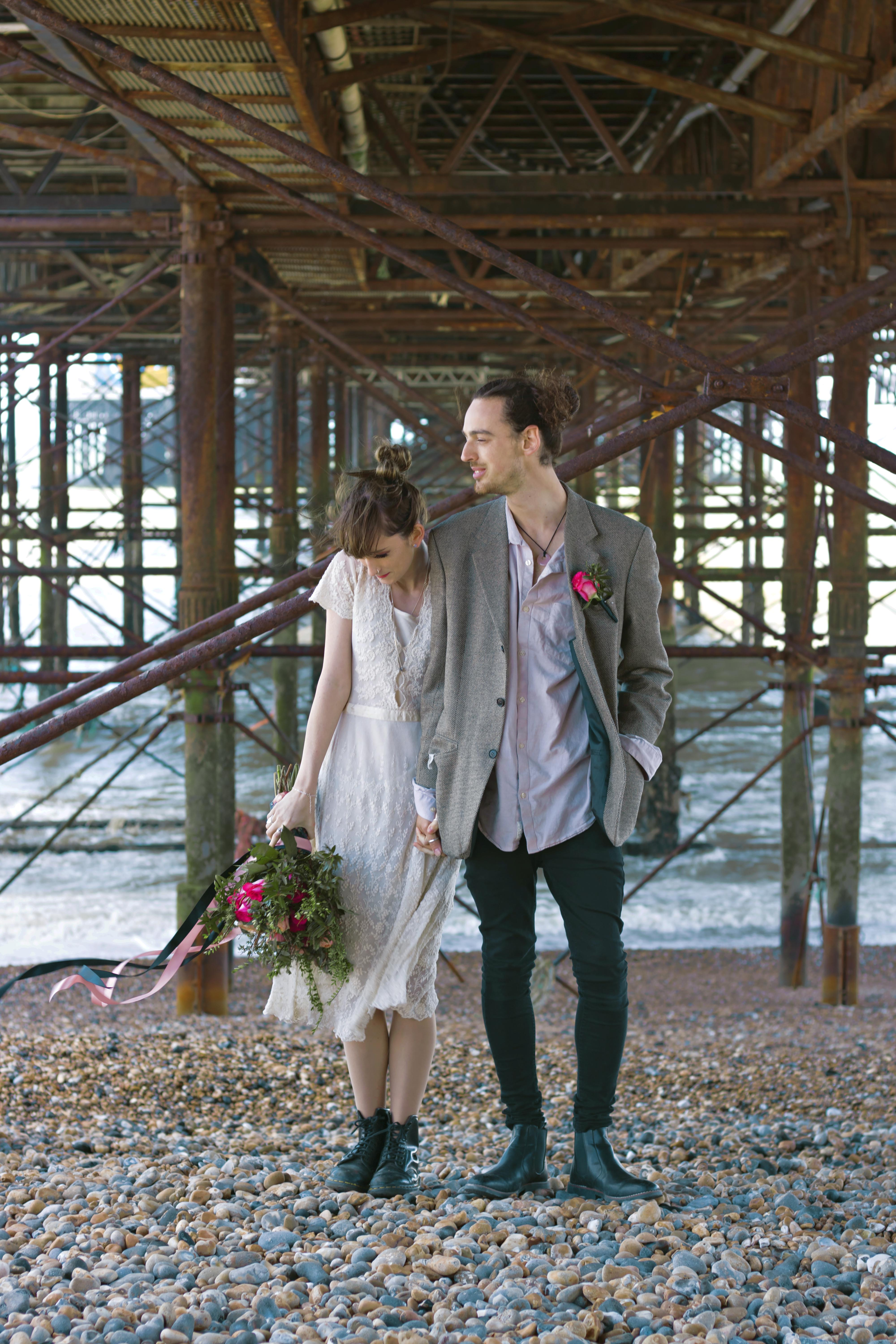 Romantic Couple Portraits under Brighton Pier