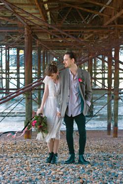 Romantic Couple Portraits under Brighton Pier