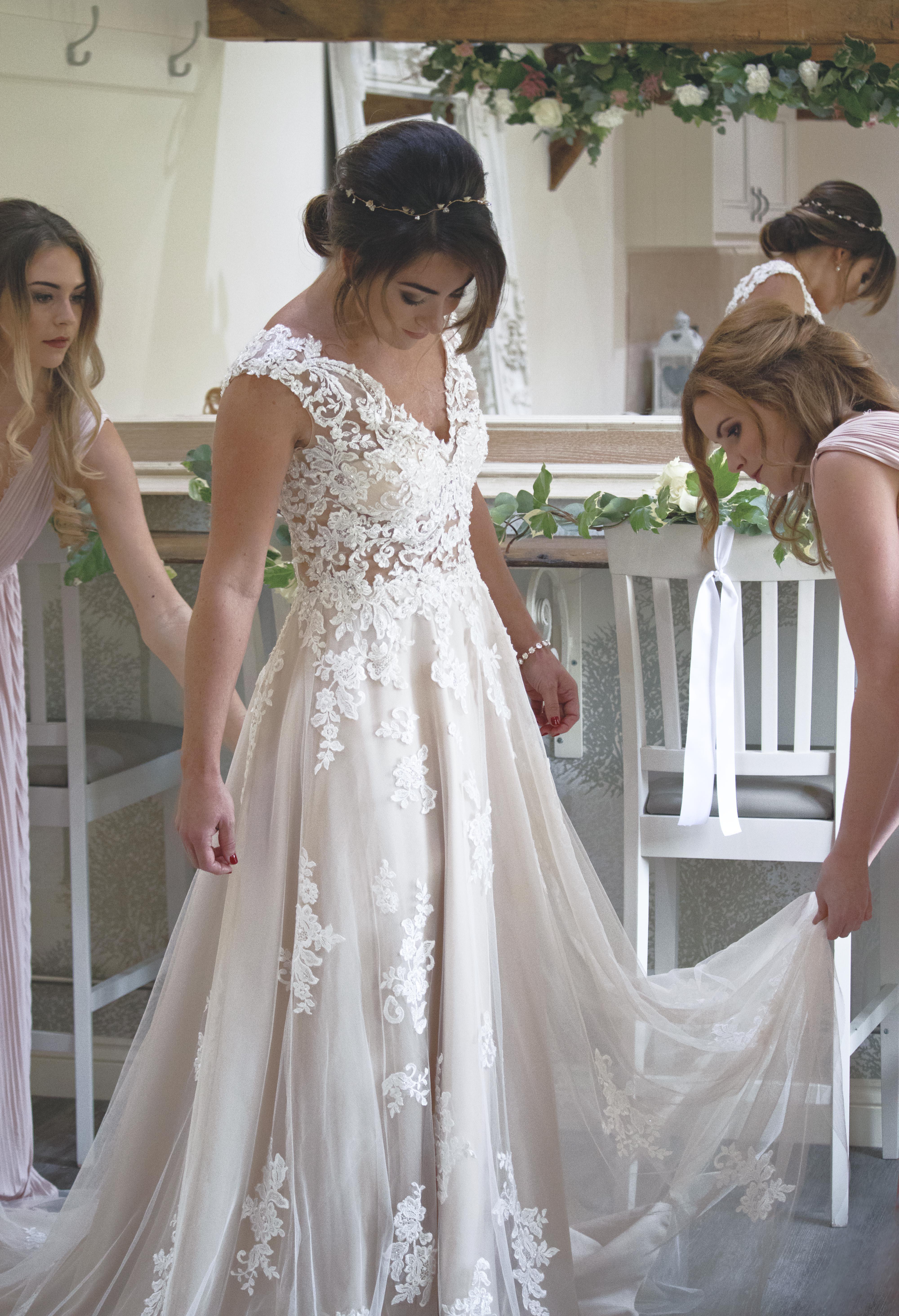 Bride Steps into Dress