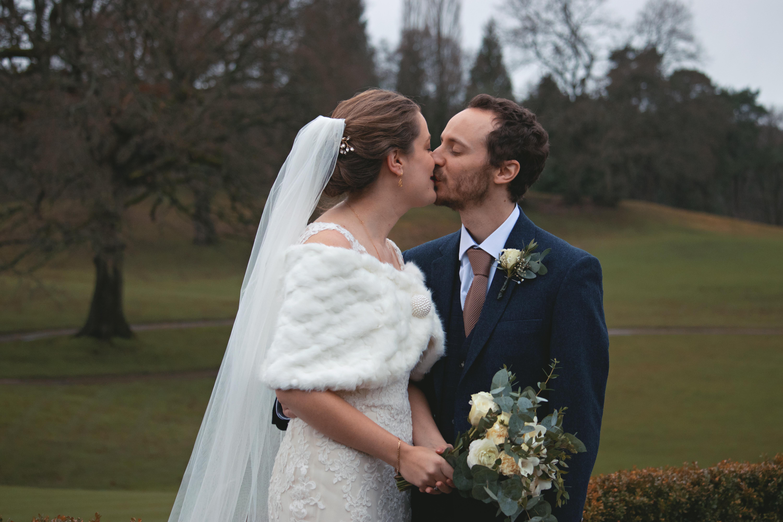 Winter Wedding Outdoor Romantic Couple Shots in Surrey