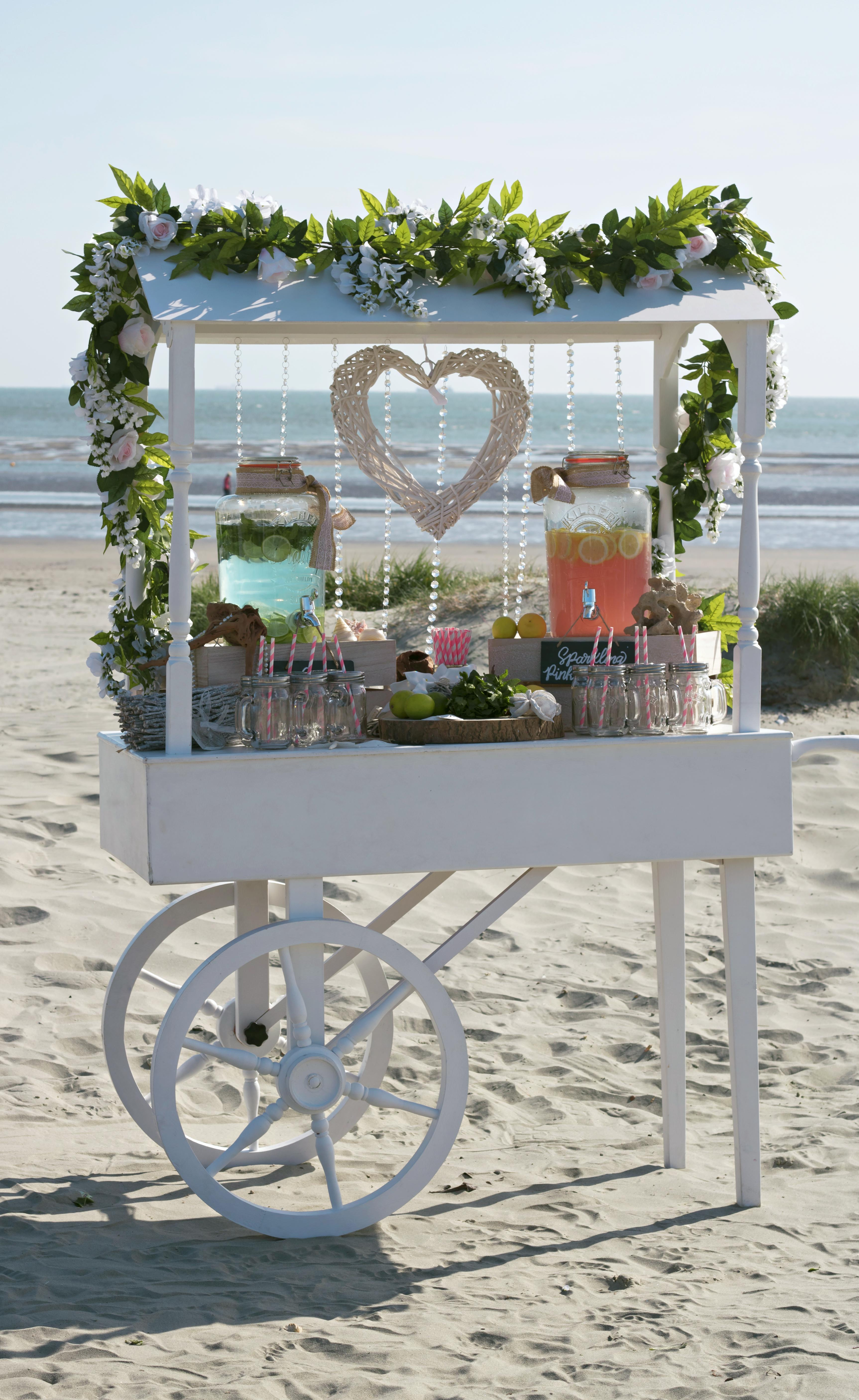 Beach Wedding Drinks Cart