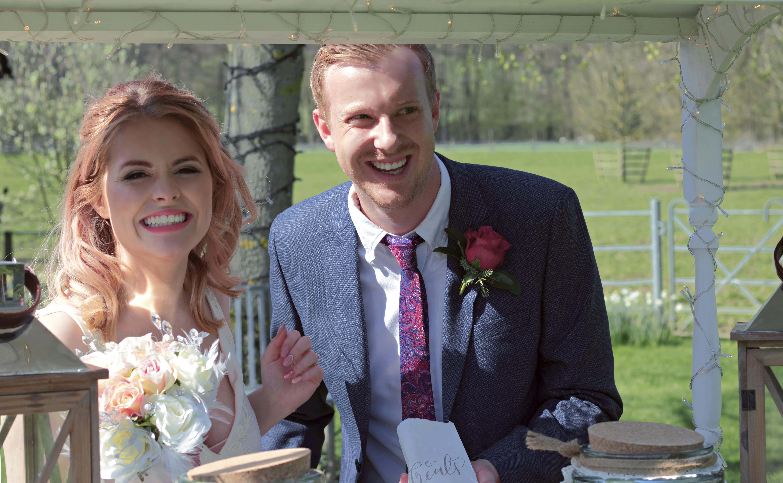 Wedding couple and their Wedding Sweet Cart