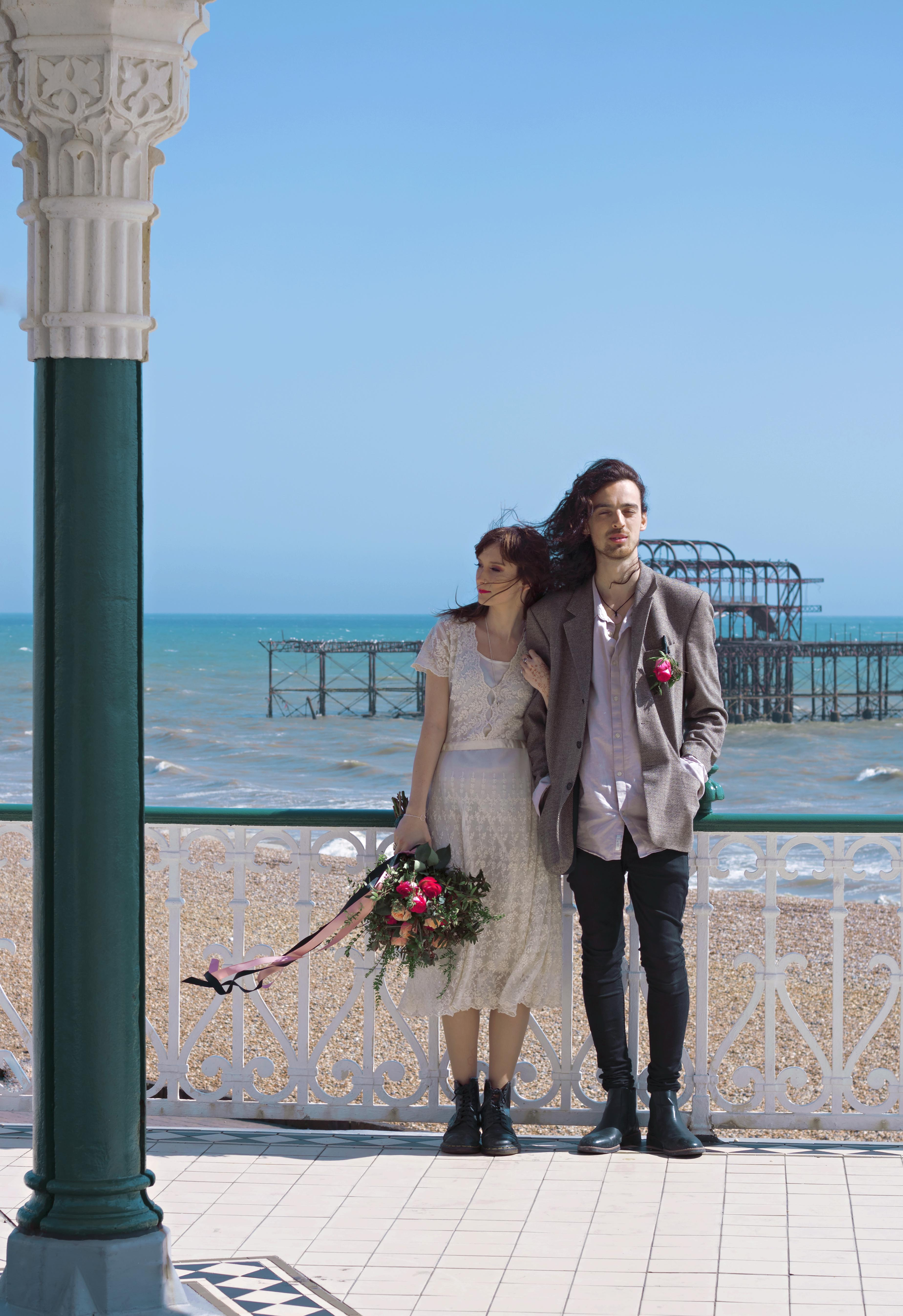 Couple Portraits by Old Brighton Pier