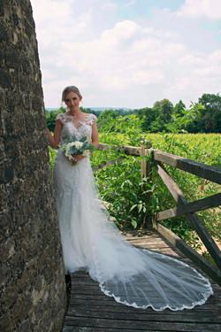 Wide Angle Bridal Portrait at Vineyard