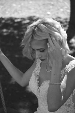 B&W Bridal Portrait on Swing