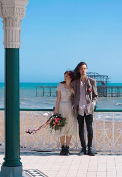 Brighton Beach Wedding Couple Portraits