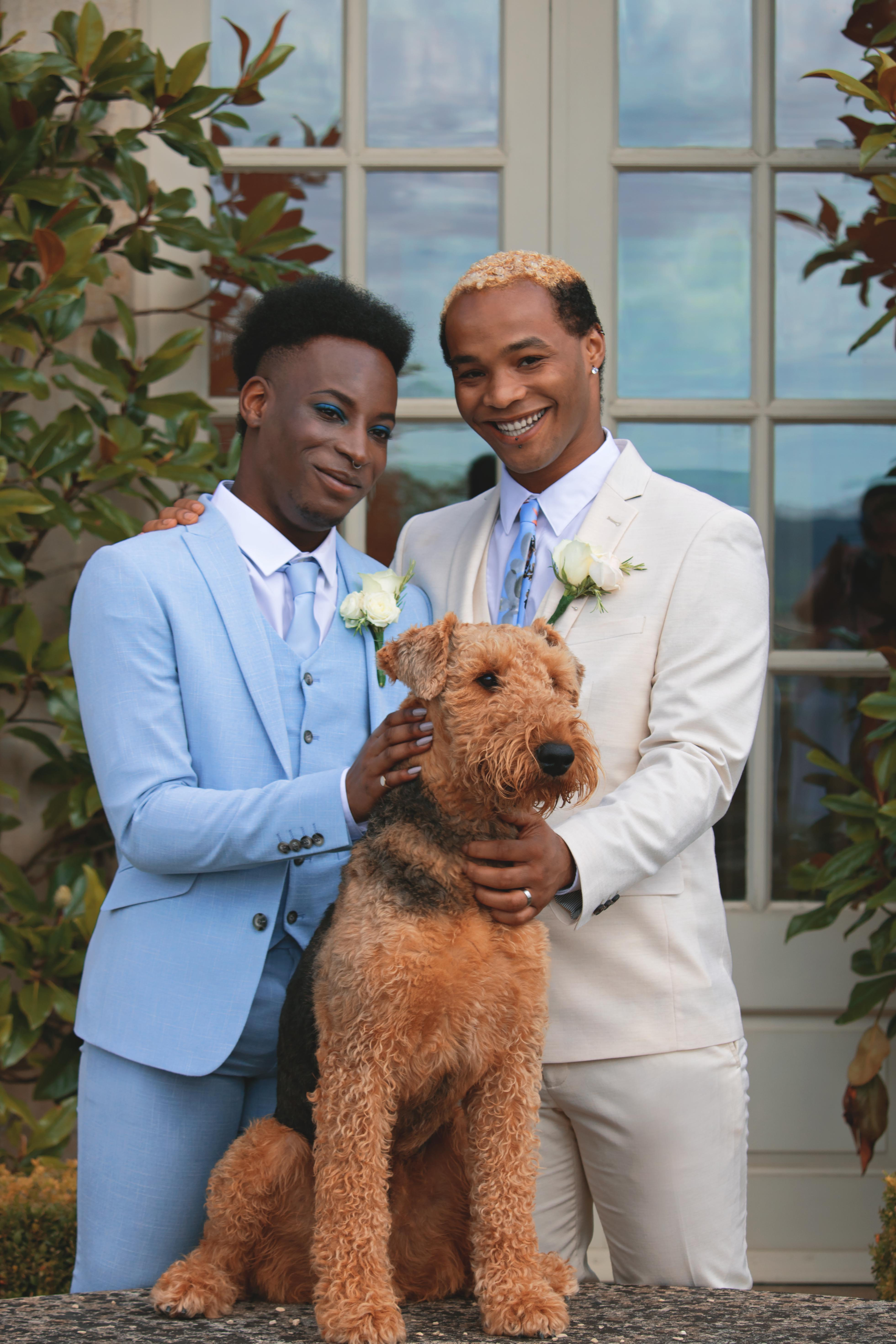 Grooms at their Pet at Beautiful Tuscan Themed Wedding at Euridge Manor