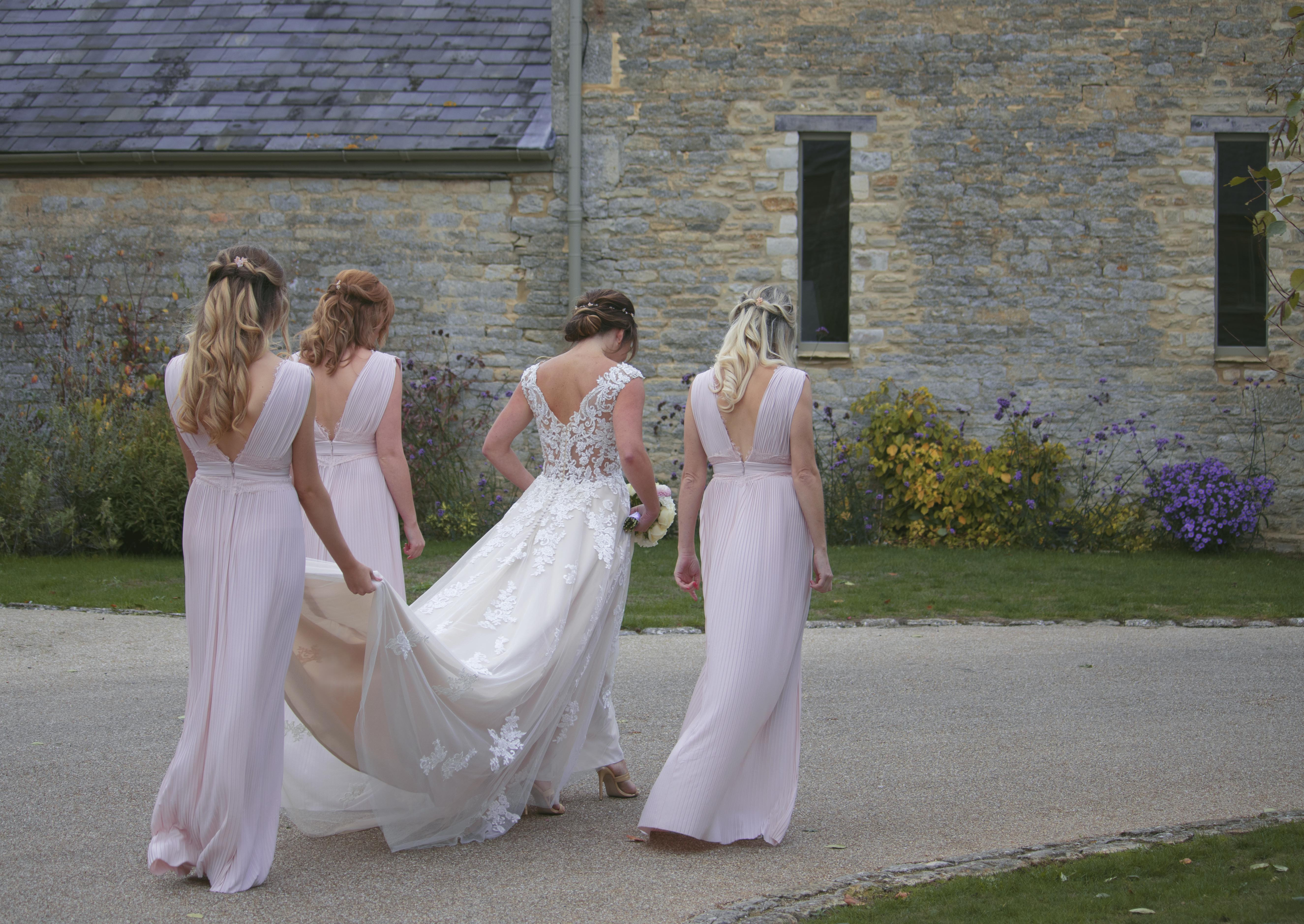 Walking with my Bridesmaids at Caswell House
