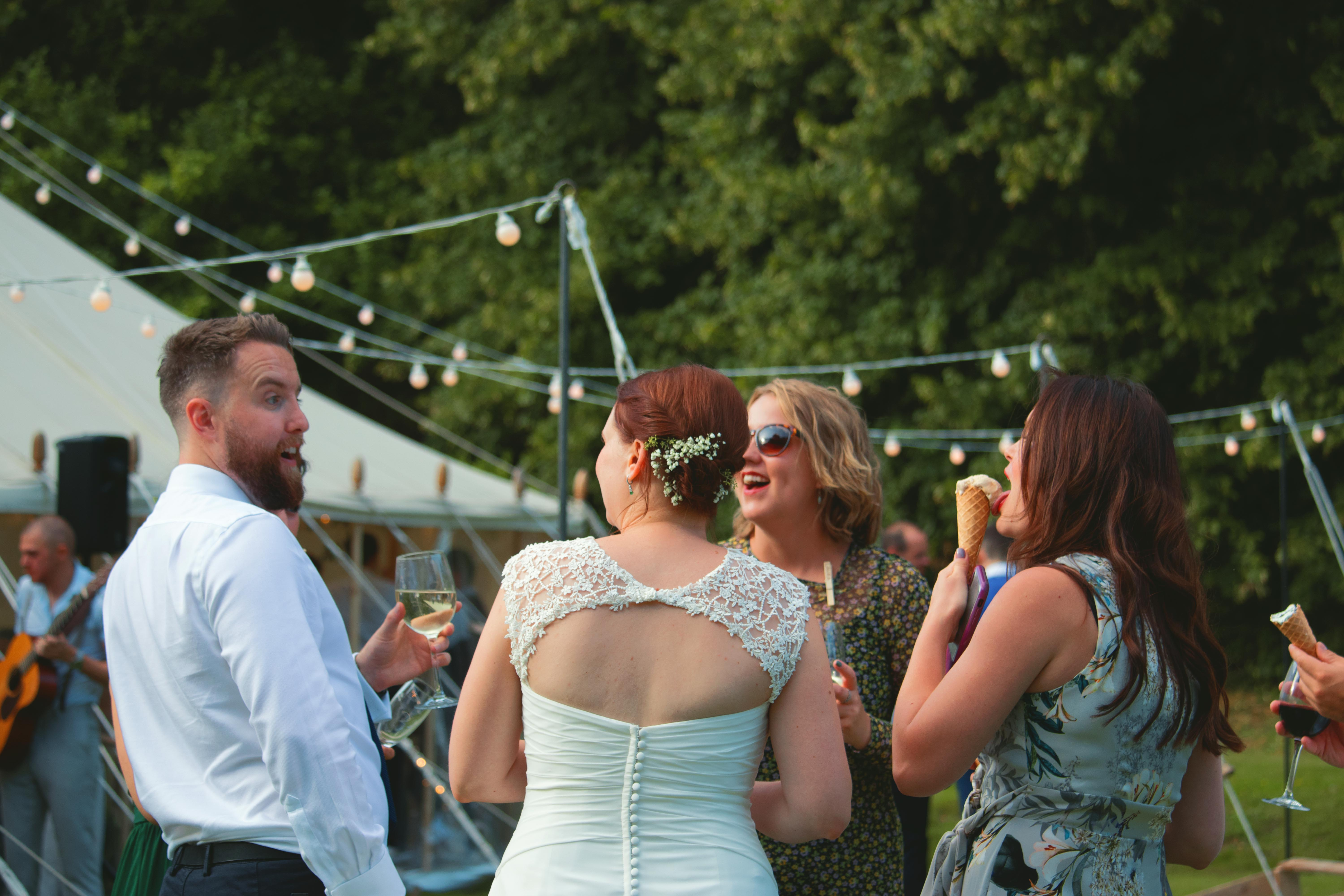 Laugher with Wedding Guests