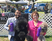 Dog Groomer Gabriel Feitosa and Sharon Stevens at the santa barbara dog Show