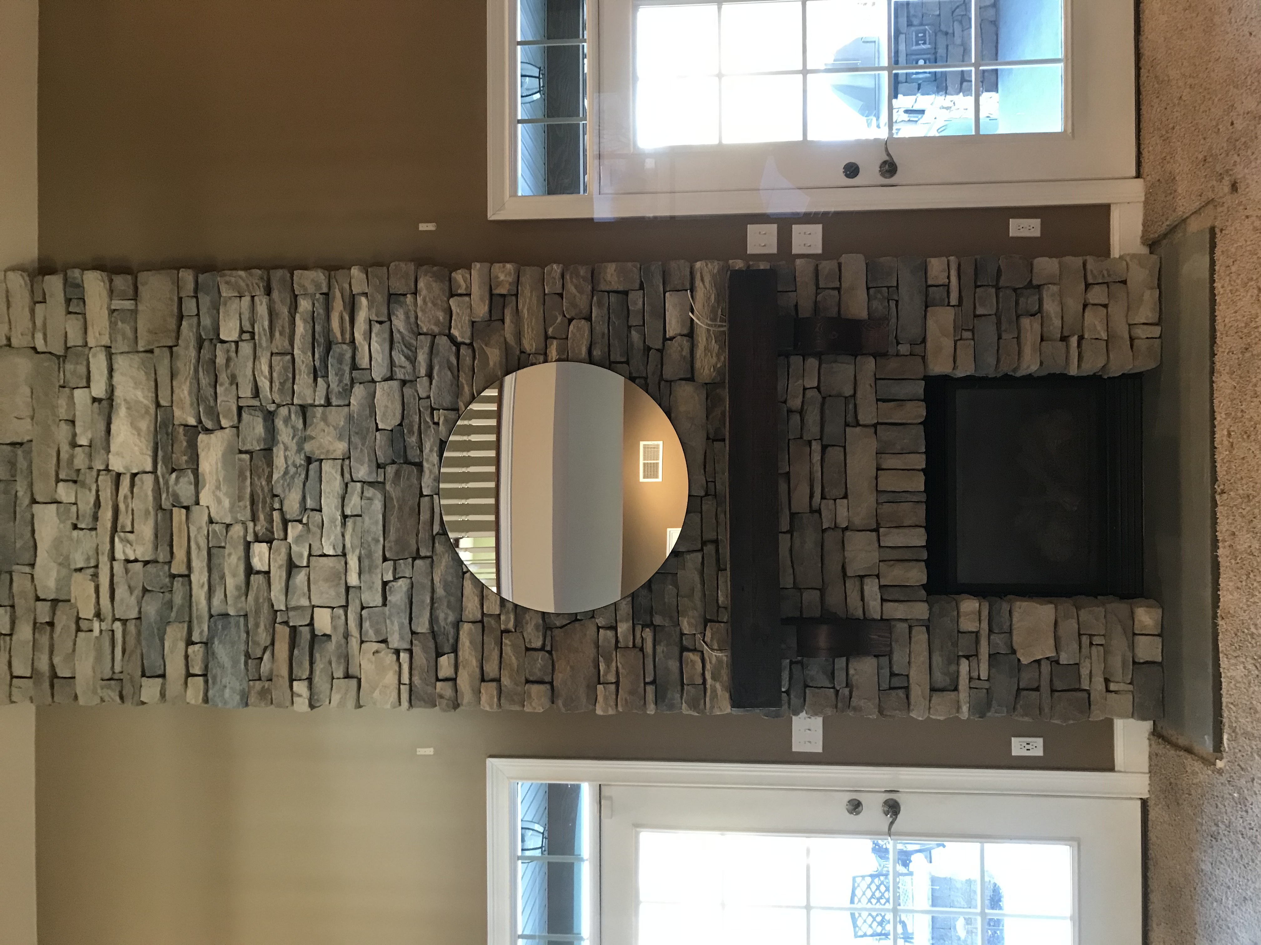 Beautiful Drystack Stone Fireplace