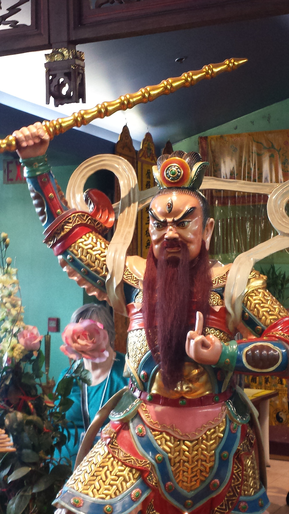 This guardian of the Daoist temple means business...though his finger does not mean what you think it means :)