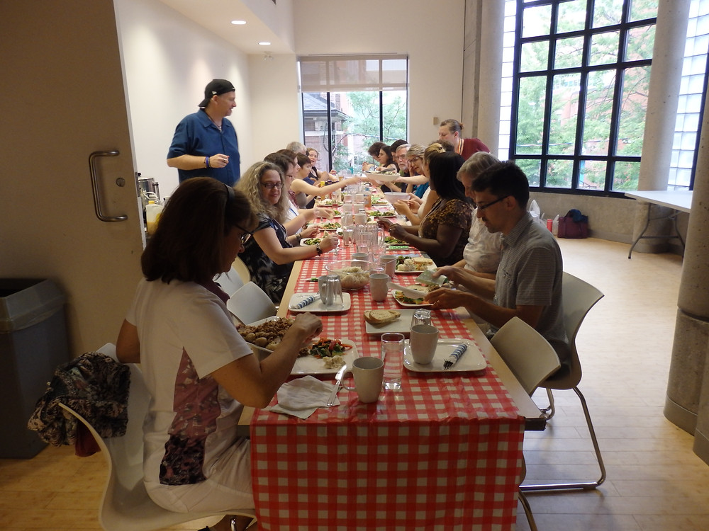 On free nights we have a smaller group as some go home and hence we have a kind of family style dinner organized by Mel & Troy (our super cooks)