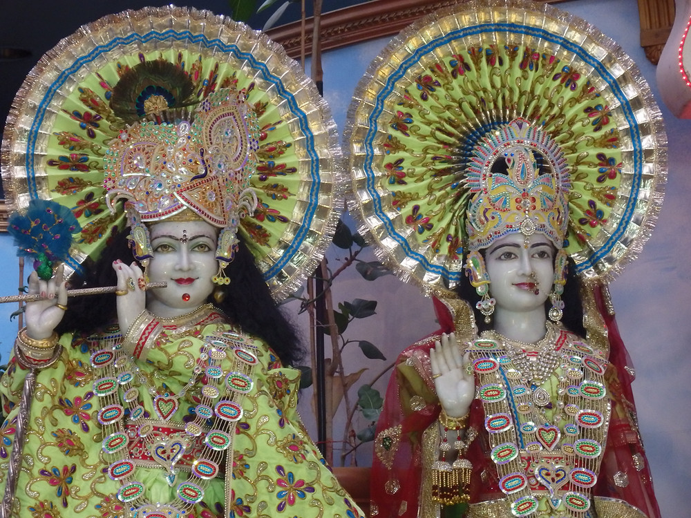 Krishna and Radha at one of our Hindu visits. Devotees come to temple for Darshan (visual communion with the deities)